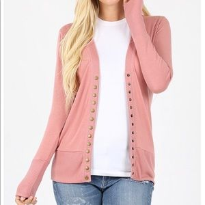 Zenana Snap Button Dusty Rose Cardigan Sweater New